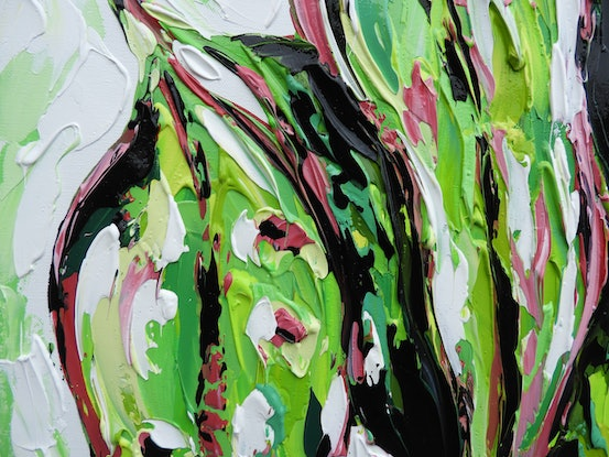 (CreativeWork) Eucalyptus Leaves  by Lisa Fahey. Acrylic Paint. Shop online at Bluethumb.