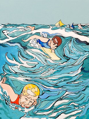(CreativeWork) Dick and John go Surfing by Donna Christie. Acrylic Paint. Shop online at Bluethumb.