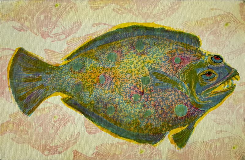 (CreativeWork) Flounder with Angler Fish. by Sarah Mitchell. Acrylic Paint. Shop online at Bluethumb.