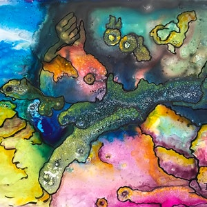 (CreativeWork) Underwater World #4 by Ingrid Russell. mixed-media. Shop online at Bluethumb.
