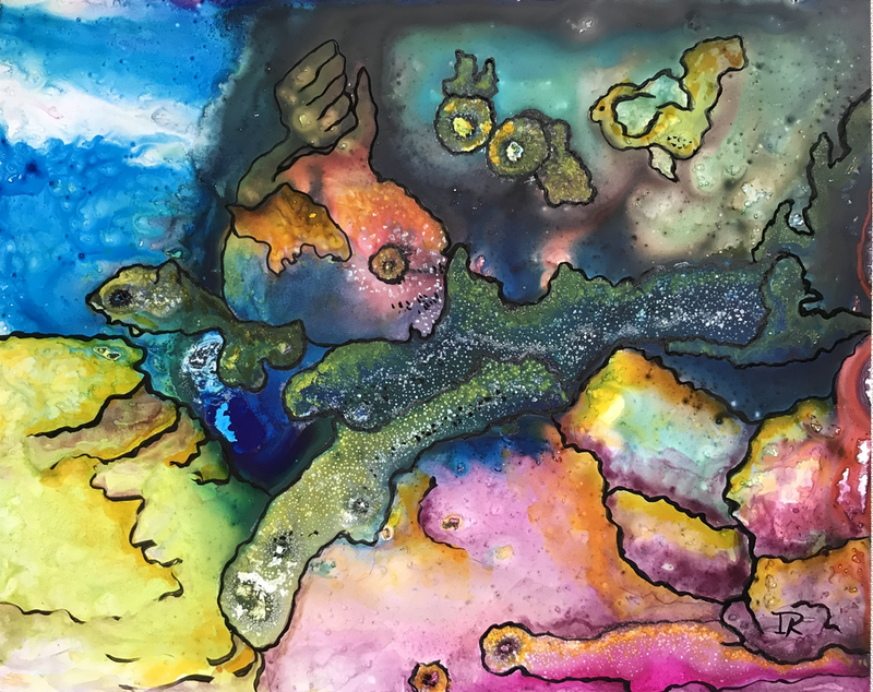 (CreativeWork) Underwater World #4 by Ingrid Russell. Mixed Media. Shop online at Bluethumb.