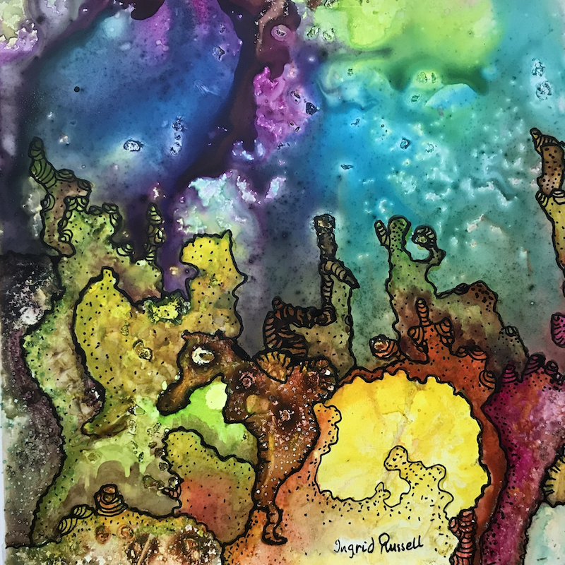 (CreativeWork) Underwater World #5 by Ingrid Russell. Mixed Media. Shop online at Bluethumb.