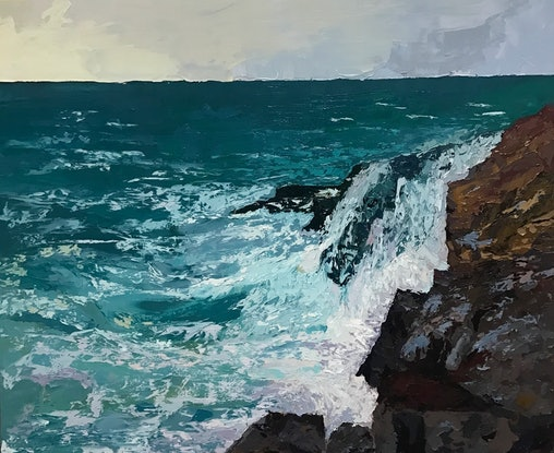 (CreativeWork) Wild Seas by Chris mercer. Oil Paint. Shop online at Bluethumb.