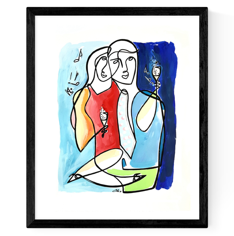 (CreativeWork) 'Party Lovers V2' 43x53 Frame by Chris Cox. Acrylic Paint. Shop online at Bluethumb.