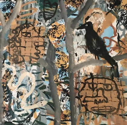 (CreativeWork) Black bird in bush by Cameron Gillespie. Acrylic Paint. Shop online at Bluethumb.