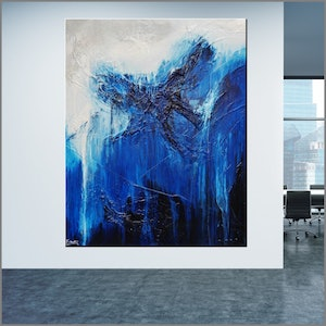 (CreativeWork) Cornered Blue  huge 150cm x 120cm White Grey Blue Acrylic Textured Abstract  FRANKO  by _Franko _. arcylic-painting. Shop online at Bluethumb.