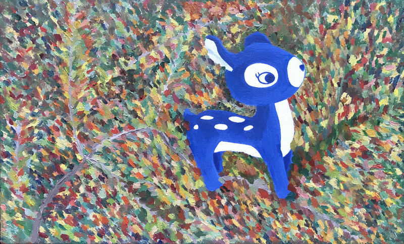(CreativeWork) Oh deer, Autumn (2018) - Painting by Tanya Lu. Oil Paint. Shop online at Bluethumb.
