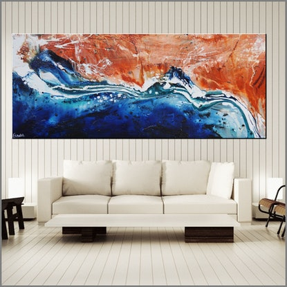 (CreativeWork) Serpentine 240cm x 100cm textured gloss finish Highly textured base Abstract Franko by _Franko _. Acrylic Paint. Shop online at Bluethumb.