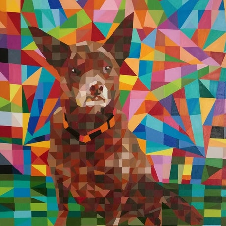 (CreativeWork) red dog by mary shackman. Oil Paint. Shop online at Bluethumb.