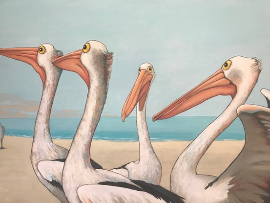 (CreativeWork) Pelican Beach by Mary Conder. Acrylic Paint. Shop online at Bluethumb.