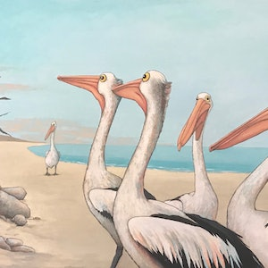 (CreativeWork) Pelican Beach by Mary Conder. arcylic-painting. Shop online at Bluethumb.