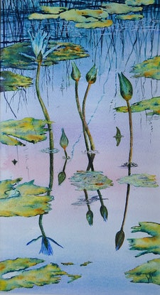 (CreativeWork) Waterlily Reflections by Vicki Reid. Watercolour Paint. Shop online at Bluethumb.