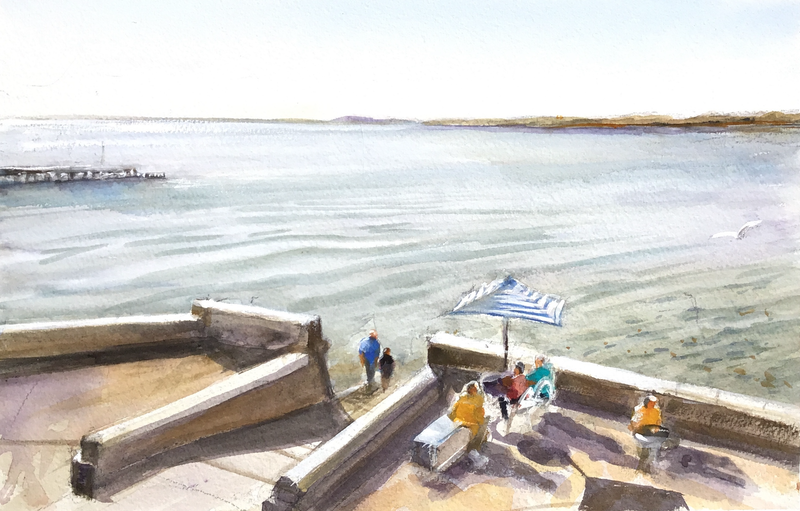 (CreativeWork) Waters Edge , Blackrock , Victoria  by Geoff Stanistreet. Watercolour Paint. Shop online at Bluethumb.