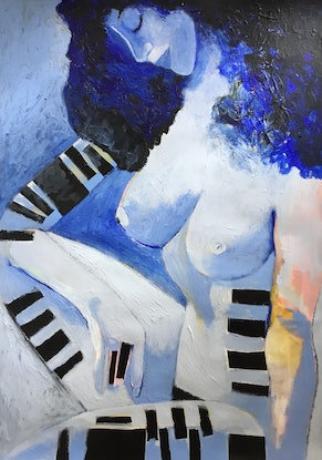 (CreativeWork) Abstract Nude - Good Woman Down  by Lee Wilde. Mixed Media. Shop online at Bluethumb.