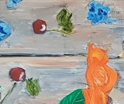 (CreativeWork) Flowers on a table by Paul Crowe. Oil Paint. Shop online at Bluethumb.