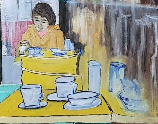 (CreativeWork) The Diner by Paul Crowe. Oil Paint. Shop online at Bluethumb.
