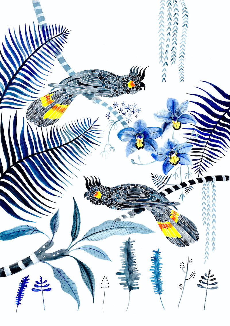 (CreativeWork) Black Cockatoos and Cymbidium Orchids Ed. 19 of 25 by Sally Browne. Print. Shop online at Bluethumb.