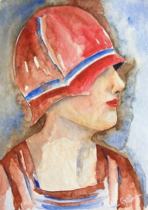 (CreativeWork) Judith - 1920s Lady by Cynthia Copley. Watercolour Paint. Shop online at Bluethumb.