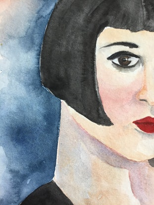 (CreativeWork) Brookie- 1920s Starlet by Cynthia Copley. Watercolour Paint. Shop online at Bluethumb.