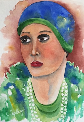 (CreativeWork) Gertie - 1920s Flapper by Cynthia Copley. Watercolour Paint. Shop online at Bluethumb.