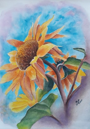 (CreativeWork) Happy sunflower by Svetlana Cook. Watercolour Paint. Shop online at Bluethumb.