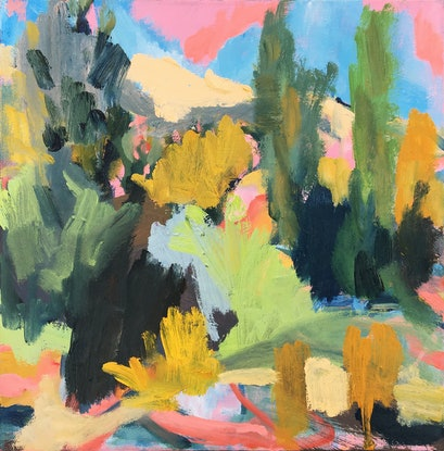 (CreativeWork) River Journey in Pink by Nicole Foxall. Oil Paint. Shop online at Bluethumb.