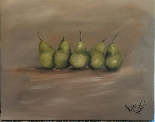 (CreativeWork) Packham pears  by Kylie van Tol. Acrylic Paint. Shop online at Bluethumb.