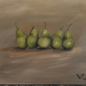(CreativeWork) Packham pears  by Kylie van Tol. arcylic-painting. Shop online at Bluethumb.