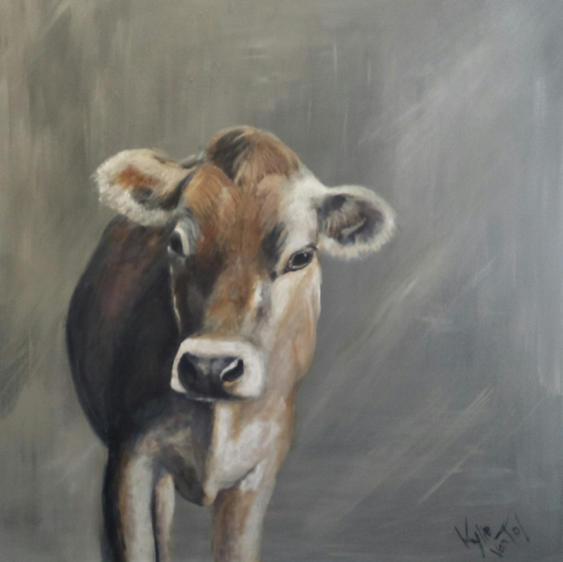 "(CreativeWork) ""Jersey cow"" by Kylie van Tol. Acrylic Paint. Shop online at Bluethumb."
