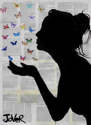 (CreativeWork) BLUE BUTTERFLIGHT by loui jover. Drawings. Shop online at Bluethumb.