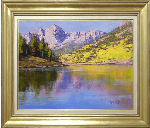 (CreativeWork) Maroon Bells Reflections by Graham Gercken. Oil Paint. Shop online at Bluethumb.