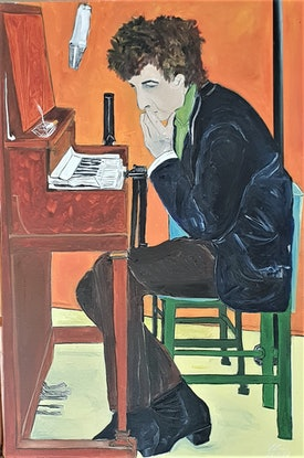 (CreativeWork) Dylan at the Piano by Paul Crowe. Oil Paint. Shop online at Bluethumb.