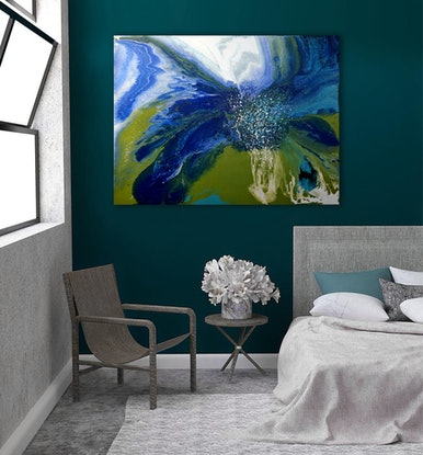 (CreativeWork) The  Surfer by Brigitte Ackland. Acrylic Paint. Shop online at Bluethumb.