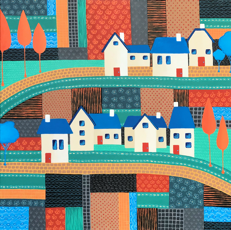 (CreativeWork) Tiny Town on the Patchwork Hill no.2 (Commissioned) by Lisa Frances Judd. Acrylic Paint. Shop online at Bluethumb.