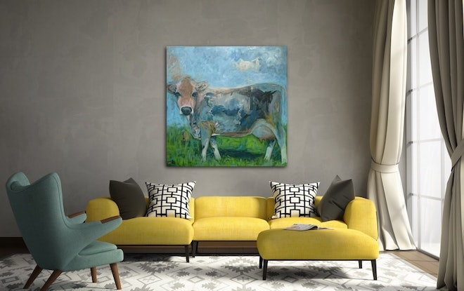 (CreativeWork) Meadow  by Paola Ditel. Acrylic Paint. Shop online at Bluethumb.