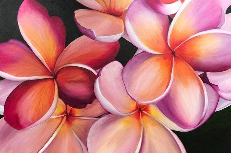 (CreativeWork) Tropical Blush by Hayley Kruger. arcylic-painting. Shop online at Bluethumb.