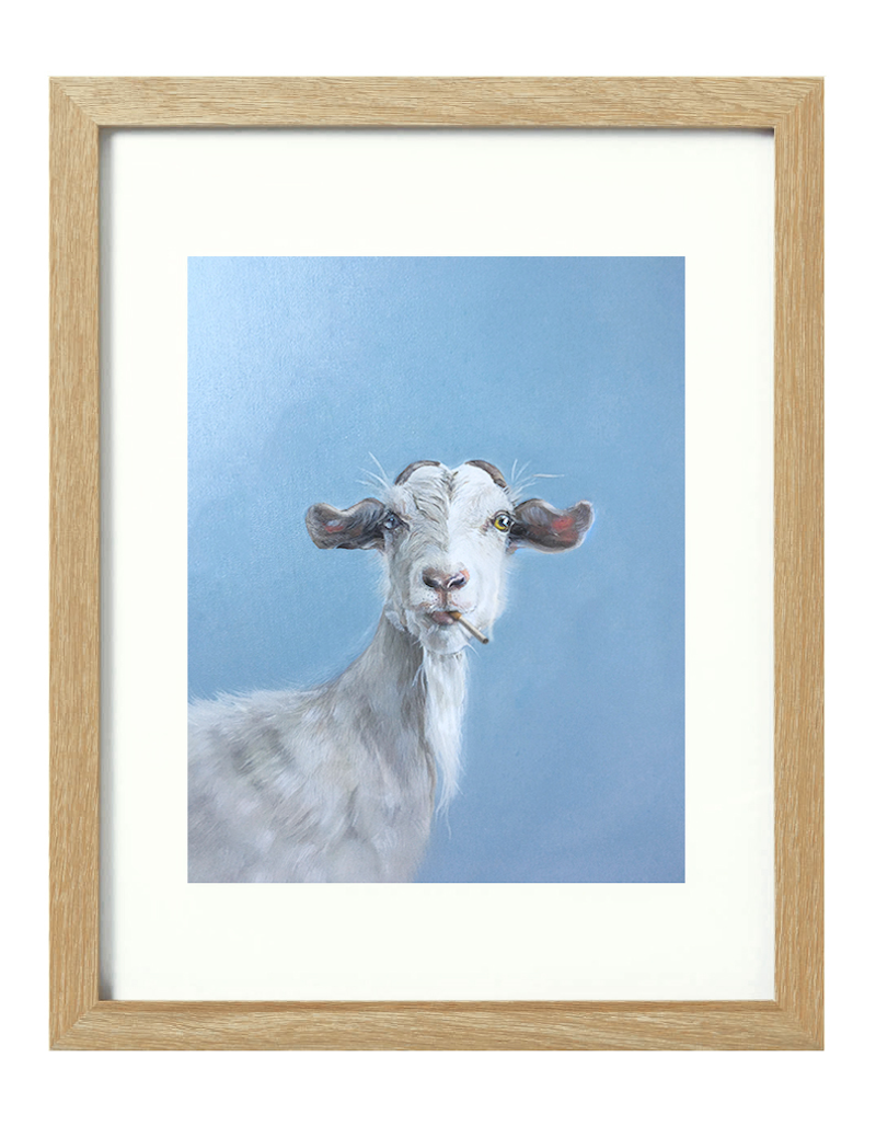 (CreativeWork) Smoking Goat [framed] Ed. 1 of 20 by Donna Christie. Print. Shop online at Bluethumb.