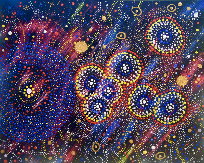 (CreativeWork) The Southern Cross Yaraan-doo - the place of the white gum-tree by Cynthia Farr BARUNGGUM. Acrylic Paint. Shop online at Bluethumb.