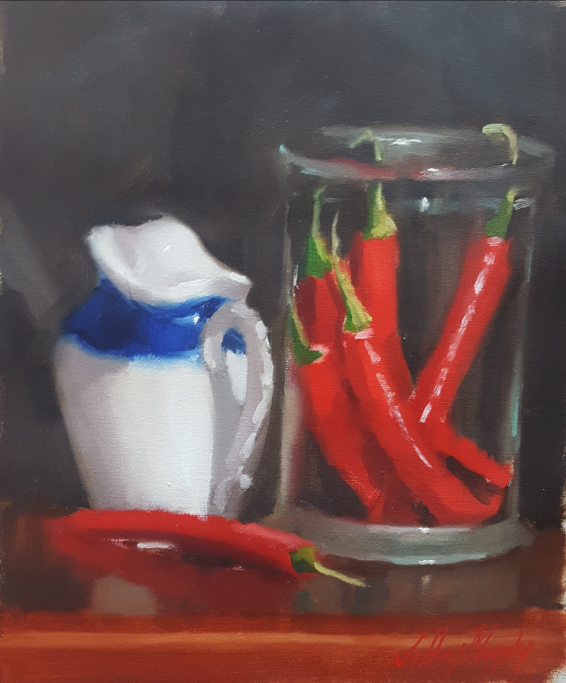 (CreativeWork) Red Chillis in a Glass Jar by Jeffrey Murphy. Oil Paint. Shop online at Bluethumb.