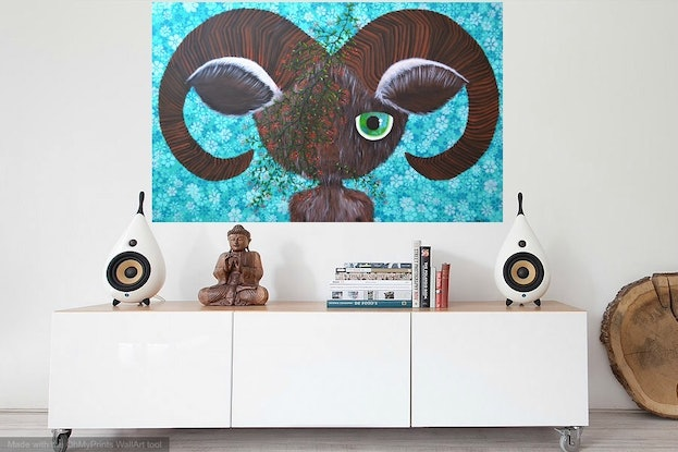 (CreativeWork) ORIGINAL Artwork Horned  from Connected Series by Tanya Smith. Acrylic Paint. Shop online at Bluethumb.