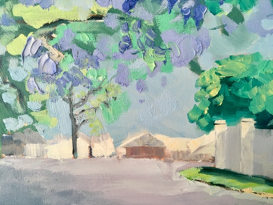 (CreativeWork) Jacarandas - 'Saturday from Grant' by Meredith Howse. Oil Paint. Shop online at Bluethumb.