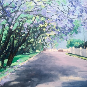 (CreativeWork) Jacarandas - 'Saturday from Grant' by Meredith Howse. oil-painting. Shop online at Bluethumb.