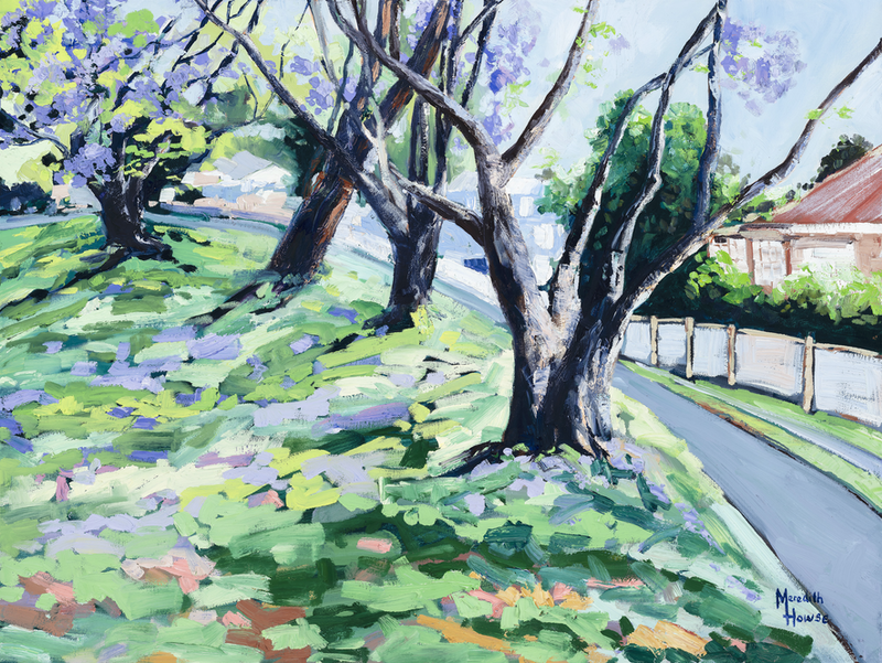 (CreativeWork) Jacarandas - 'Wednesday on Woonga 2' by Meredith Howse. Oil Paint. Shop online at Bluethumb.