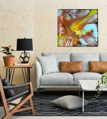 (CreativeWork) Storm - original abstract floating colours painting by Yelena Revis. Acrylic Paint. Shop online at Bluethumb.