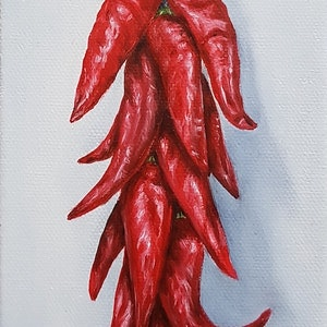 (CreativeWork) String of Red Chilli by Natasha Junmanee. oil-painting. Shop online at Bluethumb.