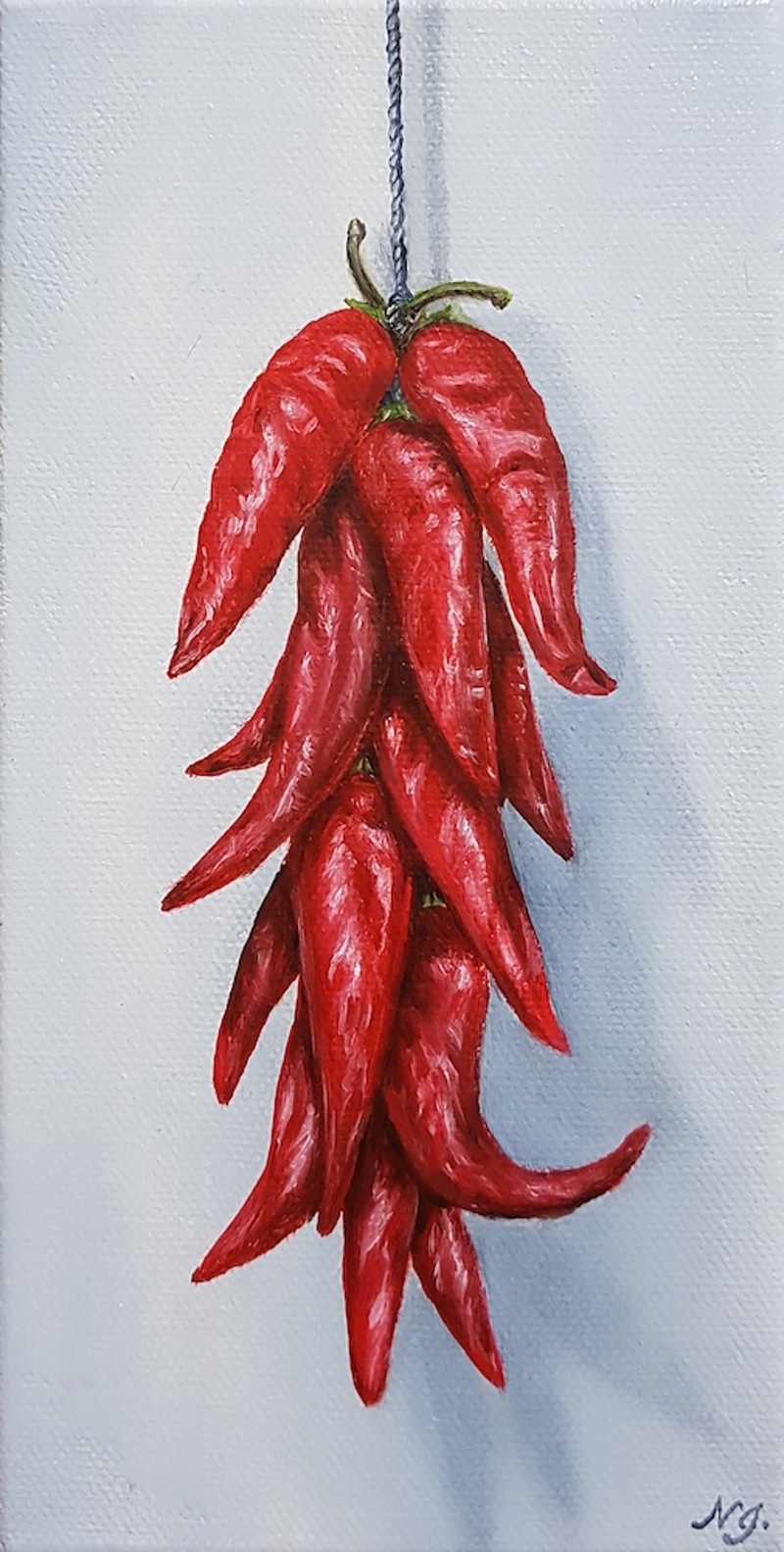 (CreativeWork) String of Red Chilli by Natasha Junmanee. Oil Paint. Shop online at Bluethumb.
