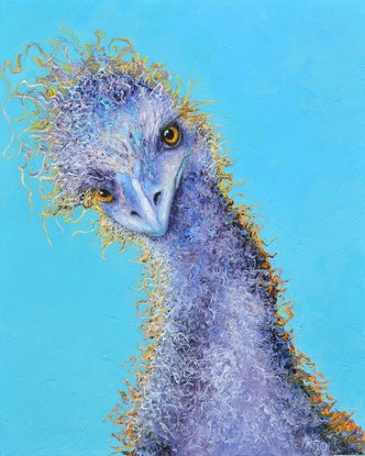 (CreativeWork) EMU - I can and I will, watch me! by Jan Matson. Oil Paint. Shop online at Bluethumb.