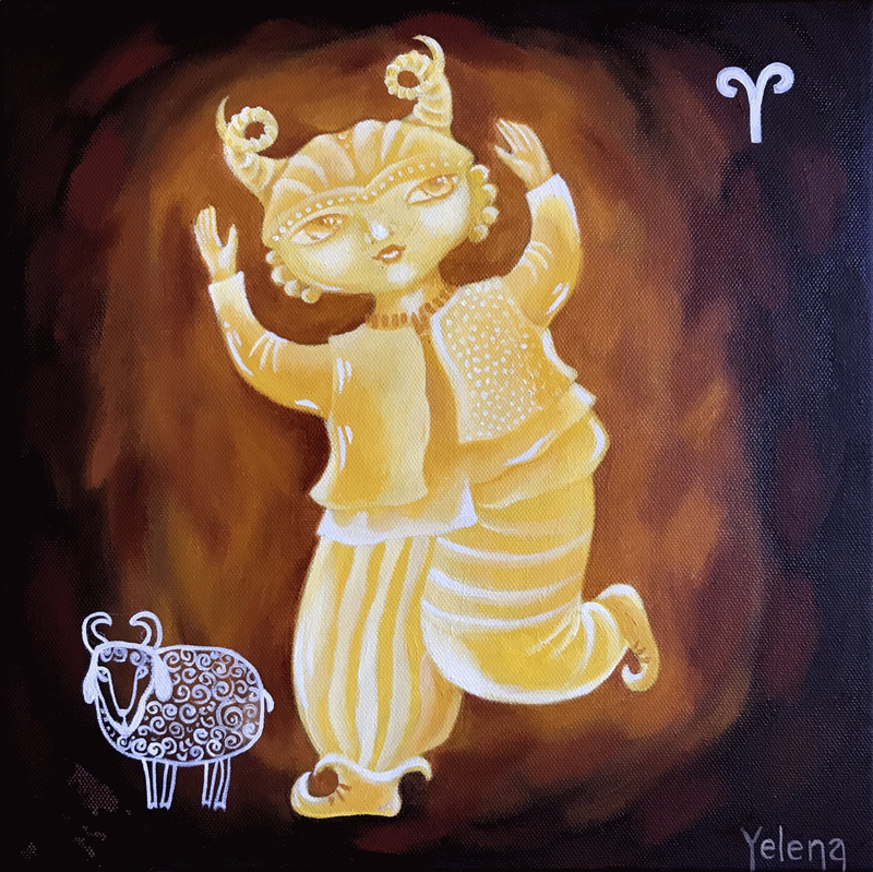 (CreativeWork) Aries: The Ram by Yelena Revis. Oil Paint. Shop online at Bluethumb.