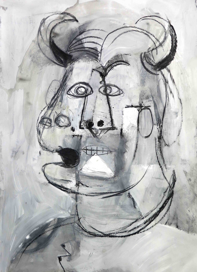 (CreativeWork) Minotaur with toothache  by John Graham. Mixed Media. Shop online at Bluethumb.