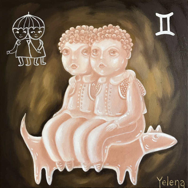 (CreativeWork) Gemini: The Twins by Yelena Revis. Oil Paint. Shop online at Bluethumb.